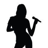 Illustratie van het meisjes de zingende silhouet Royalty-vrije Stock Afbeeldingen