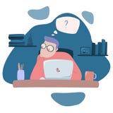 Illustratie van het menselijke werken aan laptop royalty-vrije illustratie