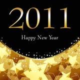 Illustratie van het mooie gouden de sterrige Nieuwjaar Stock Afbeeldingen