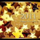 Illustratie van het mooie gouden de sterrige Nieuwjaar Stock Afbeelding