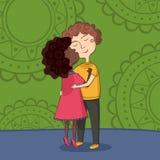 Illustratie van het multiculturele jongen en meisjes kussen Royalty-vrije Stock Afbeelding