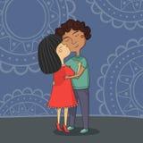 Illustratie van het multiculturele jongen en meisjes kussen Stock Foto