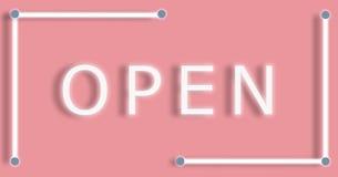 Illustratie van het Open Neon van de Bannertekst op Roze Pastelkleurachtergrond royalty-vrije illustratie