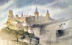Illustratie van het oude kasteel Stock Afbeeldingen