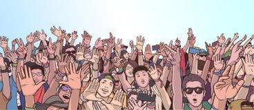 Illustratie van het partying van menigte met opgeheven handen vector illustratie