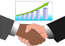 Illustratie van het schudden en de grafiek van de zakenmanhand Royalty-vrije Stock Foto