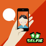 Illustratie van het Selfie de vlakke ontwerp Royalty-vrije Stock Afbeeldingen