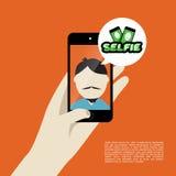 Illustratie van het Selfie de vlakke ontwerp Royalty-vrije Stock Foto's