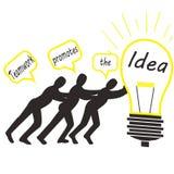 Illustratie van het teamwerk om het idee te bevorderen Stock Afbeelding