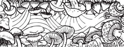 Illustratie van het het Thema de Volwassen Kleurende Boek van de paddestoeltuin Stock Foto