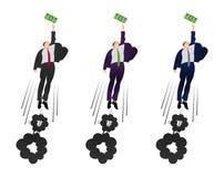 Illustratie van het vector vlakke zakenman proberen om een dollar te krijgen Wordt gemotiveerd door geld Het verdienen van veel m stock illustratie