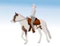 Illustratie van het veedrijfster de berijdende paard Royalty-vrije Stock Afbeelding