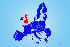 Illustratie van het Verenigd Koninkrijk en Brexit Cartografie van de gehele Europese Unie stock illustratie