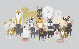 Illustratie van hondeninzameling royalty-vrije illustratie