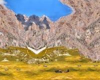 Illustratie van hooggebergte, witte sneeuw, gras, blauwe hemel Abstractie van natuurlijke aard stock fotografie