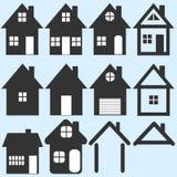 Illustratie van huispictogrammen op blauwe achtergrond Stock Afbeelding