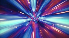 Illustratie van interstellaire reis door een blauwe die wormhole met sterren wordt gevuld vector illustratie