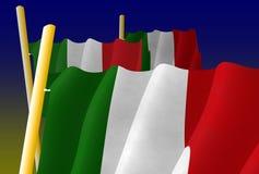 Illustratie van Italiaanse Vlaggen op de vlaggestokken vector illustratie