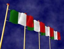 Illustratie van Italiaanse Vlaggen op de vlaggestokken royalty-vrije illustratie