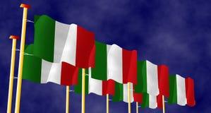 Illustratie van Italiaanse Vlaggen op de vlaggestokken stock illustratie