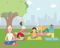Illustratie van Jonge geitjes met instructeur die Yoga in openlucht doen stock illustratie