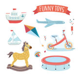 Illustratie van jonge geitjesstuk speelgoed reeks Stock Foto's