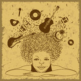 Illustratie van jongensdromen om een musicus te zijn stock illustratie