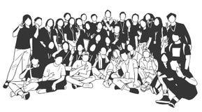 Illustratie van jongeren, vrienden, klasgenoten, studenten, collega's, familie het stellen voor groepsfoto vector illustratie