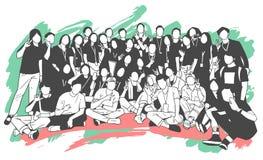 Illustratie van jongeren, vrienden, klasgenoten, studenten, collega's, familie het stellen voor groepsfoto stock illustratie