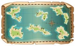 Illustratie van kaart van piraat met eilanden Royalty-vrije Stock Afbeeldingen