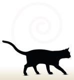 illustratie van kattensilhouet Stock Afbeelding