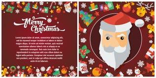 Illustratie van Kerstmis en het Gelukkige pamflet van het Nieuwjaar vlakke ontwerp Royalty-vrije Stock Fotografie