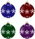 Illustratie van Kerstmisballen met sneeuwvlokken in 4 kleuren Stock Afbeeldingen