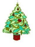 Illustratie van Kerstmisboom Stock Foto