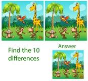 Illustratie van kinderen Het visuele raadsel openbaart tien differen royalty-vrije illustratie