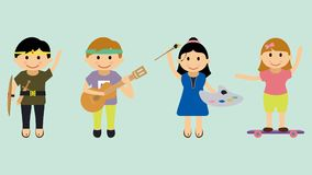 Illustratie van kinderen met diverse hobbys en activiteiten royalty-vrije illustratie
