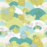 Illustratie van kippen en kuikens Royalty-vrije Stock Afbeeldingen