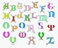 Illustratie van kleurrijk funky alfabet Stock Afbeeldingen