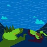 Illustratie van Kleurrijk Weergeven van Berg Wandelingssleep met Duidelijk Trekkingsspoor Creatief Idee Als achtergrond voor Open vector illustratie