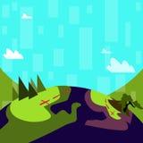 Illustratie van Kleurrijk Weergeven van Berg Wandelingssleep met Duidelijk Trekkingsspoor Creatief Idee Als achtergrond voor Open stock illustratie
