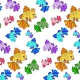 Illustratie van kleurrijke vissen op een witte achtergrond Stock Foto's