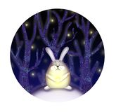 Illustratie van konijn in het bos royalty-vrije illustratie