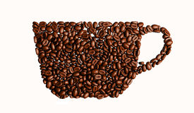 Illustratie van Kop met koffiebonen op rode achtergrond Stock Fotografie