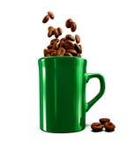 Illustratie van Kop met koffiebonen op witte achtergrond Royalty-vrije Stock Afbeelding