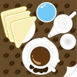 Illustratie van kopkoffie en brood Royalty-vrije Stock Foto's