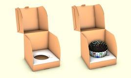 Illustratie van Korte Vierkante Kartoncake Carry Box Packaging Op Witte Geïsoleerde Achtergrond royalty-vrije illustratie