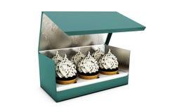 Illustratie van Korte Vierkante Kartoncake Carry Box Packaging Op Witte Geïsoleerde Achtergrond Stock Foto