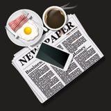 Illustratie van krant en mobiele telefoon met zwarte koffie en Royalty-vrije Stock Afbeelding