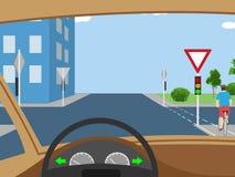 Illustratie van kruispunt met fietser Stock Afbeeldingen