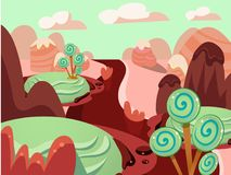 Illustratie van land van het Fantasie het zoete voedsel Stock Afbeelding